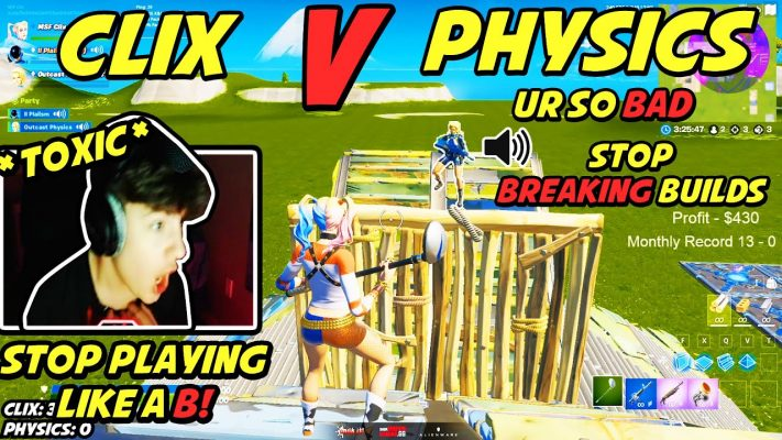 Clix VS Physics Turned into The Most Toxic 1v1 BuildFight Ever Because of THIS...