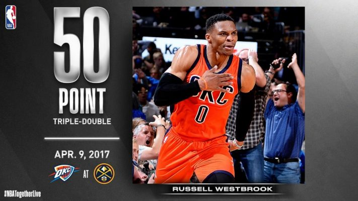 Thunder @ Nuggets: Russell Westbrook makes triple-double history on April 9, 2017 #NBATogetherLive