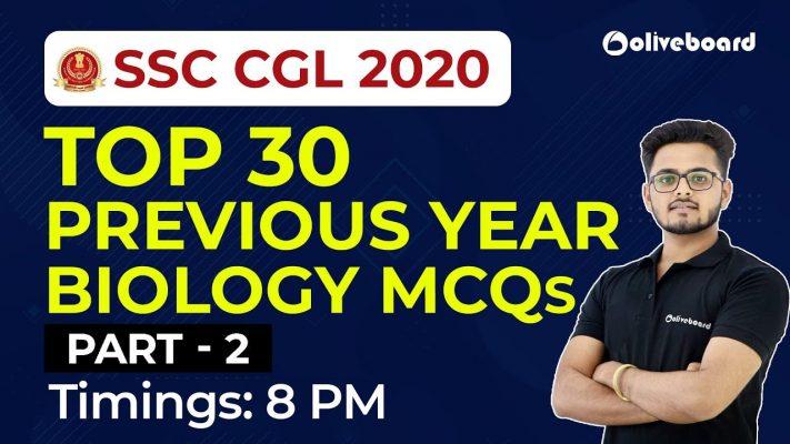 SSC CGL 2020 | Top 30 Previous Year Biology MCQ's - Part 2 | Saurabh Sir