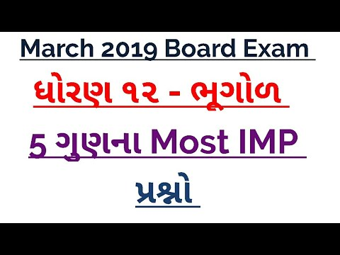 Imp questions for std 12 Geography March 2019 Board Exam