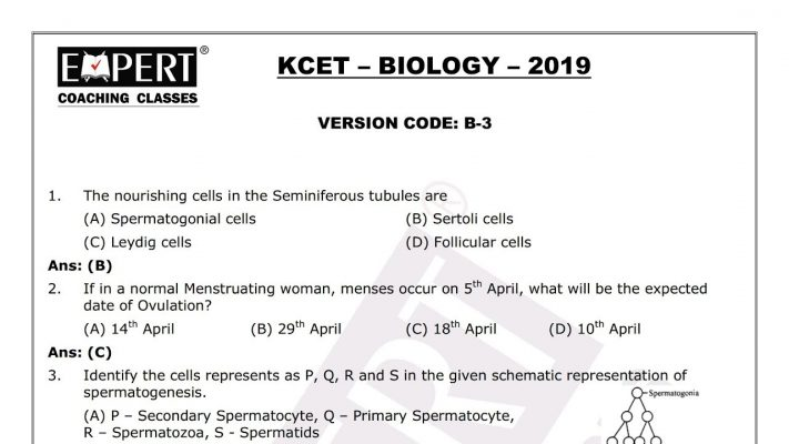 KCET Biology Answers 2019 ! Version Code B -3