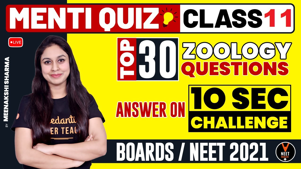 Top 30 Most Important Questions of Biology Class 11 (Zoology)   NEET Biology   NEET 2021 Preparation